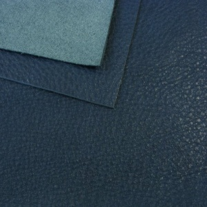 1.5mm Crease Texture Glossy Blue Leather 30x60cm