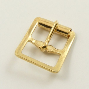 16mm Stamped Whole Roller Buckle - Brass Plate