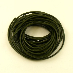 Olive Green Leather Thonging 2mm Round 5 Metres