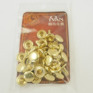 9mm Double Cap Brass Plated Rivets