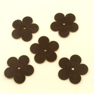 Leather Flowers - Large Dark Brown
