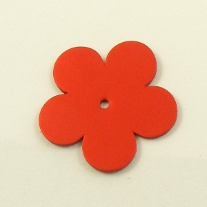 Leather Flowers - Large Metallic Red