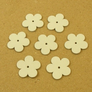 Leather Flowers - Medium Off White