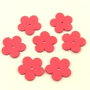 Medium Flowers - Bright Pink Leather