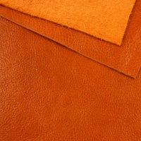 1.6mm Glossy Orange Crease Textured Leather 30x60cm
