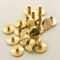 Wide Leather Joining Screws - Brass - Pack of 10