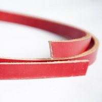 Red 4mm Thick Saddlery Leather Strips