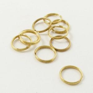 10 Small 12mm Split Rings Brass Plated