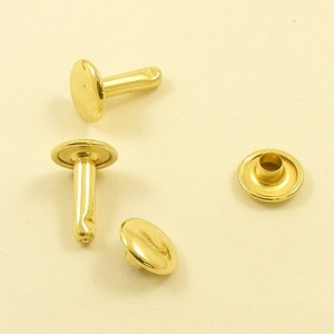 12mm Double Cap Brass Plated Rivets