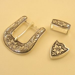 3 Piece Buckle Set Silver Plated 25mm (1'')