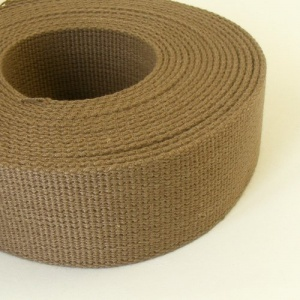 38mm Heavy Cotton Webbing Wolf Brown 2 Metres