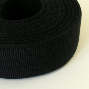 32mm Heavy Cotton Webbing Black 5 Metres