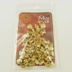 6mm Double Cap Brass Plated Rivets Pack of 30