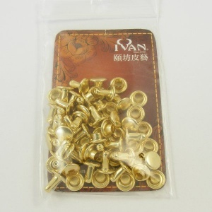 7mm Double Cap Brass Plated Rivets Pack of 100
