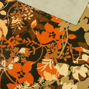 1.4mm Bold Brown & Orange Floral Print Leather 30x60cm