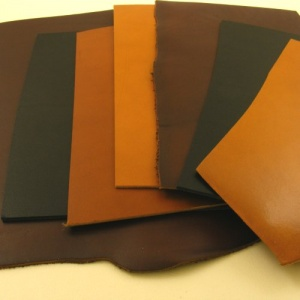 1.5-1.7mm BROWN & TAN Stiff Vegetable Tanned Pieces 350g