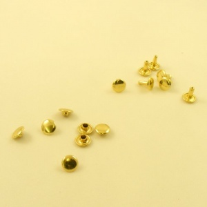 9mm SOLID Brass Tubular Rivets Pack of 100