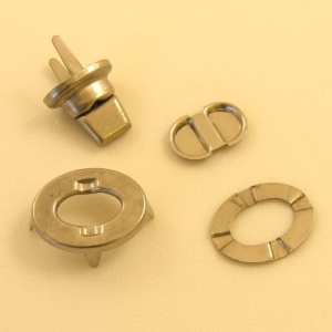 Nickel Plated Oval Turn Lock Clasp