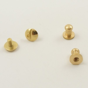 Small Narrow Sam Browne Stud - Brass - Pack of 2