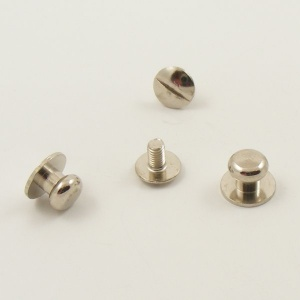Small Wide Sam Browne Stud - Silver - Pack of 2