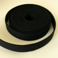 25mm Heavy Cotton Webbing Black 2 Metres