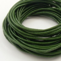SALE Green Leather Thonging 2mm Round 5 Metres