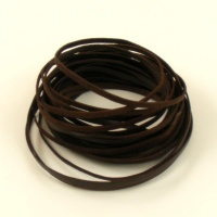 5 Metres Flat Dark Brown Leather Thonging 3.5mm x 1.5mm