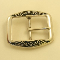 Tribal Pattern Silver Plated Belt Buckle 1 1/2 inch 38mm