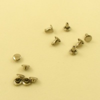 7mm SOLID Brass Nickel Plated Tubular Rivets Pack of 100