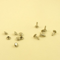 12mm SOLID Brass Nickel Plated Tubular Rivets x 100