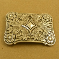 Silver Plated Floral Design Plate Buckle 1 1/2 inch 38mm