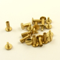 13mm Leather Joining Screw - Brass - 10pk
