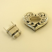 Heart Shaped Silver Plated Handbag Turnbutton