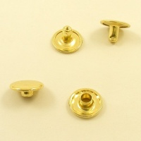 7mm Stem WIDE Double Cap Brass Plated Rivets