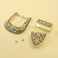 3 Piece Silver Plated Belt Buckle Set 1 1/2 inch 38mm